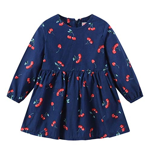 HEETEY Kleinkind-Baby scherzt Mädchen Langarm Rundhalsausschnitt Kirschfrucht Print Zipper Princess Dresses Clothes