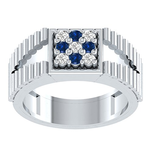 New 0,22ct Rundschliff blau Saphir & Diamant Verlobungsring Hochzeit Band Ring in 925Silber