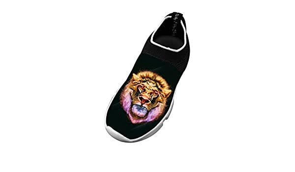 Big Face Lion New Trendy Flywire Weaving 3D Printing Jogging Shoes For Unisex Kid