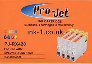 Projet inks Compatible ink Pro jet cartridge Epson Stylus Photo R240 / Epson R245 / Epson RX420 / Epson RX425 / Epson RX450 / Epson RX520 PJ-RX420 TO551 TO552 TO553 TO554 Full Set of 4 ink cartridges CYAN MAGENTA YELLOW BLACK T0551 T0552 T0553 T0554