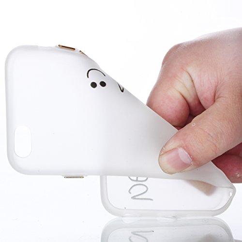 Ecoway Slim Etui Noctilucent Coque TPU pour iPhone 7 (4,7 zoll) Coque,Housse étui en TPU Silicone Souple Case Cas Coque Silicone de Protection Anti Choc Anti Poussière Résistant Léger Fit iPhone 7 (4, Be happy