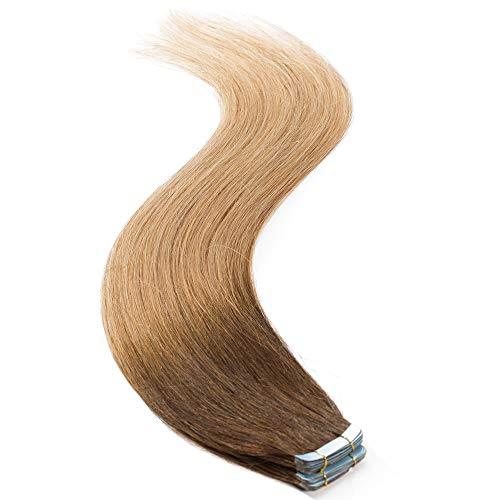 Tape in extension capelli veri adesive shatush - 45cm 50g 20fasce #4t27 marrone cioccolato ombre biondo scuro - 100% remy human hair lisci