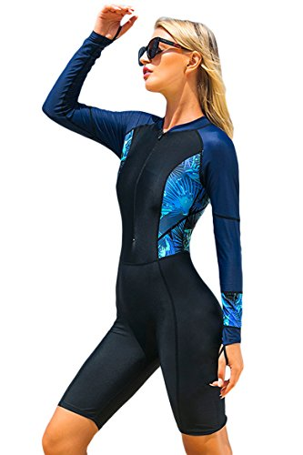 Cokar Damen Langarm Badeanzug Schwimmanzug UV-Anzug UPF>50 Schutzkleidung Sunsuit