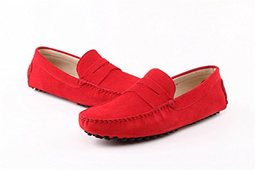 Men's Minitoo rayures Multicolore chaud Chaussons mocassins en daim pour chaussures bateau Loafers Rosso (rosso)
