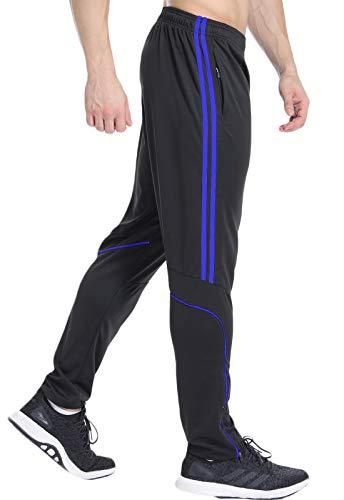 FITTOO Pantalon Jogging Homme Sport Fitness Casual Pants Loisir Pantalon Noir Avec Rayure Bleu, XXL Homme Casual Pants