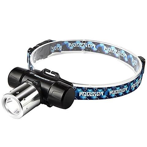 HODGSON Lampe Frontale CREE LED Rechargeable, Orientable, Chargeur Inclus, 3 Modes pour Sport Cyclisme VTT, Camping, Randonnée, Lecture de nuit [Classe énergétique A+++]