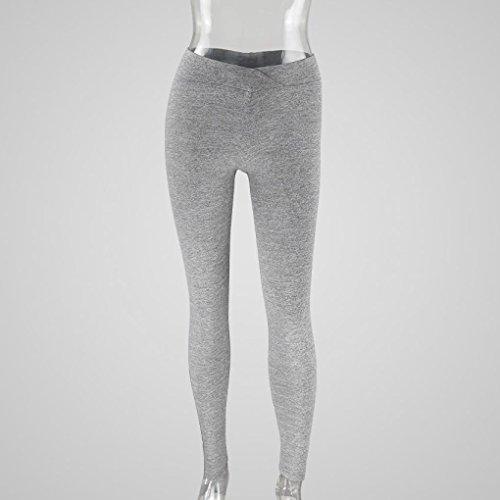 Pantalon de Sports, Oyedens Femme Taille Haute Mode Faire des exercices Leggings Fitness/Sports/Fonctionnement/Yoga Pantalons Athlétiques Gris