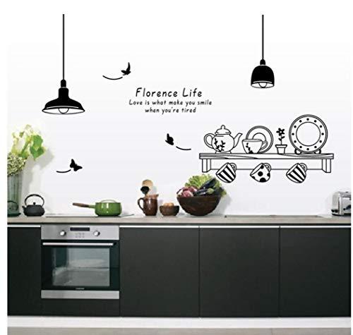 Kreative Florenz Leben Wandtattoos Für Küche Restaurant Tee Tasse Schrank Wohnkultur Pvc Wandtattoos Diy Wandbild Kunst Florenz-tee