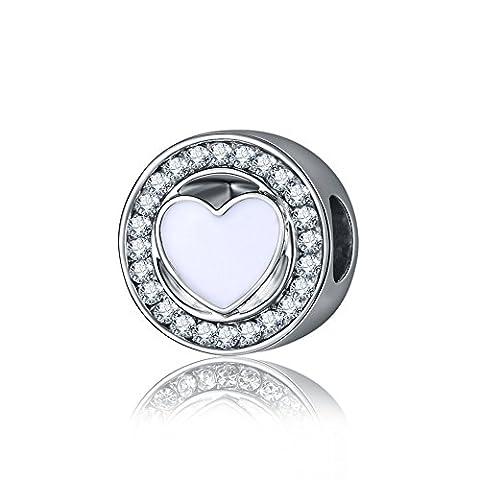 Waya Argent Charms Cœur en émail Blanc transparent synthétique Perles de cristal collier pendentif pour bracelets Bracelet