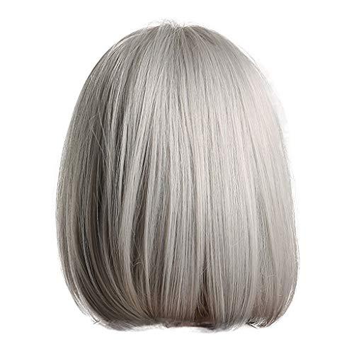 Frauen Perücke Kurze Haare Glatte Haare Silbergrau Bobo Kopfperücke