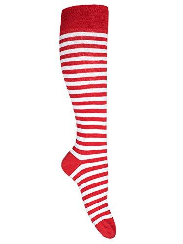 Goldschmidt Kostüme Ringelstrümpfe Ringelsocken Erwachsene Kinder vers. Farben&Größen gekämmte Baumwolle (39/42, rot weiß)