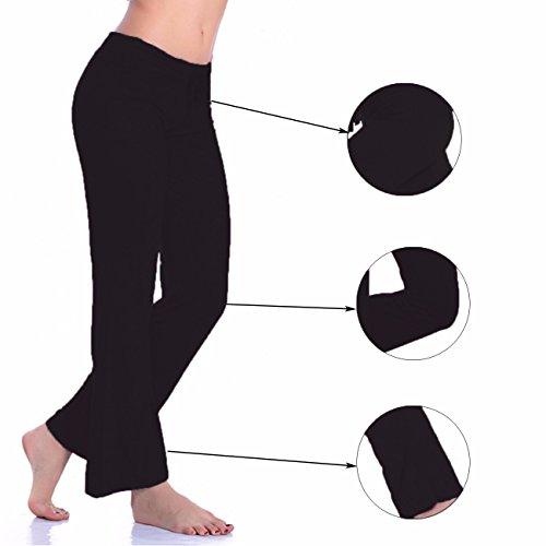 Femme Yoga de les Pantalon Large jambe Flare confortable Pantalon de danse noir