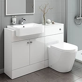 1400mm White Gloss Fully Fitted Bathroom Furniture
