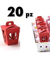Idea Regalo - TrAdE shop Traesio® - 20 PZ BOMBONIERE Lanterna Vari Colori Colorati Festa 18 Anni ASTUCCI - Rosso