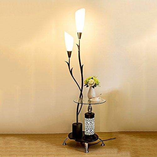 XINGUANG Stehlampe Stehende Zwei Lampe Glasrahmen, Geschnitzte Säulen, Wohnzimmer Schlafzimmer Couchtisch Stehlampe (Color : Black)