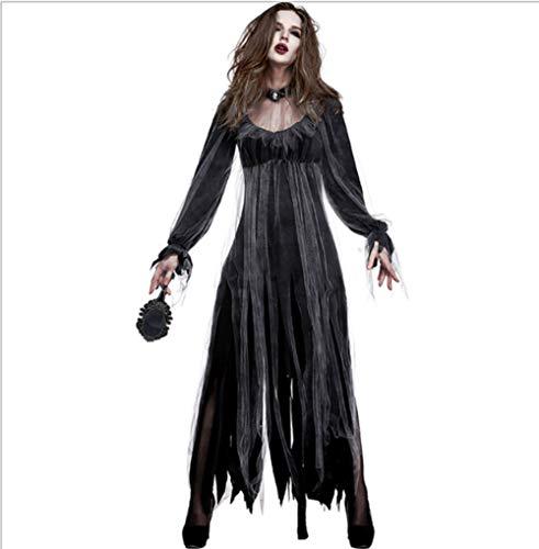 Incantasia-Glamour-Hexenkostüm Halloween-Schädel Lange Schwarze Hexe Cosplay Vampir Fancy Kleid Mit Schal,L ()