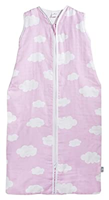 Jollein 048–510–65056Saco de dormir Verano 70cm, Mull Nubes Color Rosa