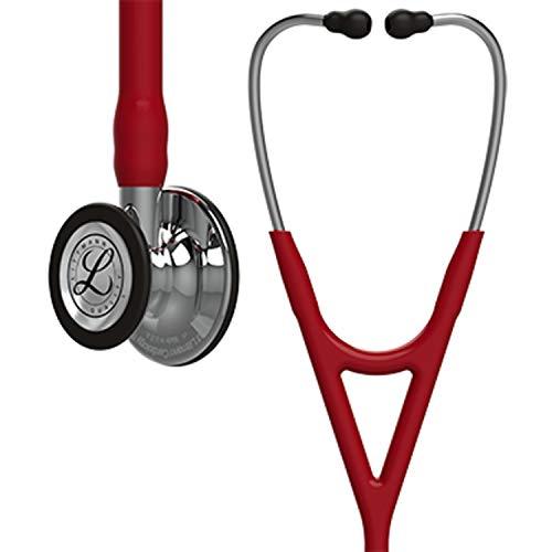 3M Littmann 6170 Cardiology IV Stethoskop, Bruststück und Schlauchanschluss hochglanzpoliert, burgunderfarbener Schlauch, 69cm, Edelstahl-Ohrbügel -