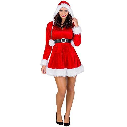 Frauenkostüm Mrs. Santa Claus Weihnachtskleid | sexy Kleid mit Kapuze | aufgenähte Bändel mit flauschigen Bommeln (S | Nr. 300306) (Starke Frau Halloween Kostüm)