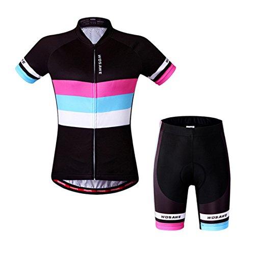 GWELL Damen Radtrikot Fahrradbekleidung Set Trikot Kurzarm + Radhose mit Sitzpolster M