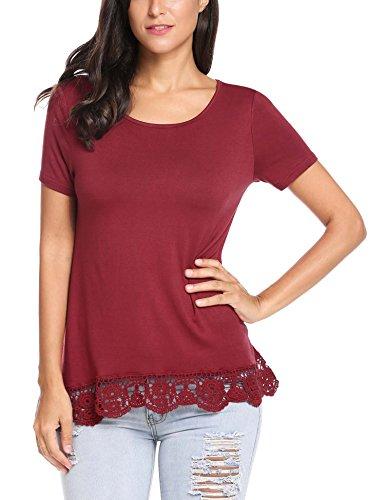 Parabler Damen Sommer T-Shirt Kurzarm Tops mit Floral Spitze Spitzenshirt Bluse Hemd Shirt Tunika -