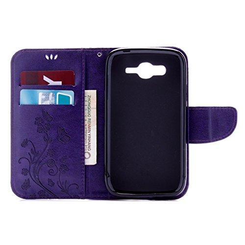 Samsung Galaxy I9080 Cover Protettiva, Alfort 2 in 1 Custodia in Pelle Verniciata Goffrata Farfalle e Fiori Alta qualità Cuoio Flip Stand Case per la Custodia Samsung Galaxy I9080 Ci sono Funzioni di  Porpora