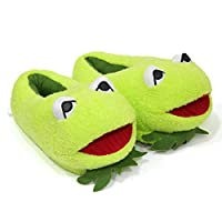 Macabolo 1 Pair Unisex Cartoon Frog Soft Plush Slippers Cute Animal Slippers Winter Warm Slippers for Adult Kids Size 35-42 Yards Green