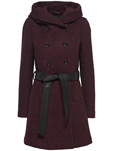 ONLY Damen Wollmantel Mantel onlLISA HS LONG WOOL COAT CC OTW Kapuze Jacke Übergang (38 (Herstellergröße: M), weinrot (Port Royale))