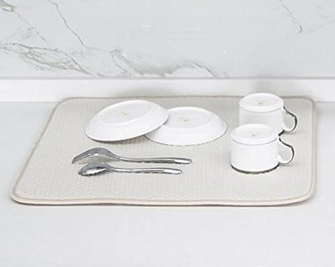 Tapis de cuisine Dry & # Xff0C; Plat Tapis de Séchage, Coutertop Tapis d'évier, Super absorbante, séchage rapide, 45*40cm, Noir, Gris, Beige disponibles