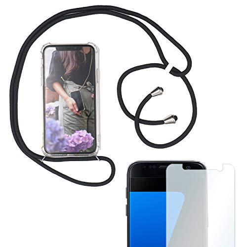 Eximmobile Handykette + Folie Schutzhülle kompatibel mit Samsung Galaxy A9 2018 Handy Hülle mit Band Seil Schwarz Schnur Case zum Umhängen Handytasche Umhängehülle Kette Kordel Silikoncase Tragen