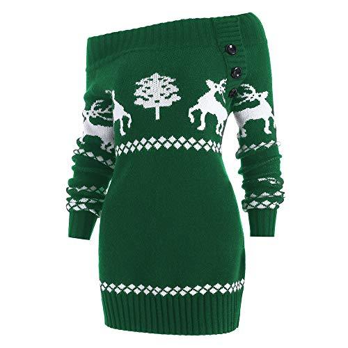 (TWIFER Damen Weihnachtsbaum Elch Skew Neck Off Shoulder Gestrickte Botton Sweater)