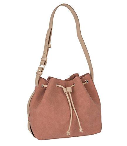 SIX Basic mittel große rötlich braune Nude Beutel Tasche in Wildleder Optik mit Druckknopf, Damen Handtasche, Schultertasche, verstellbar (463-958)