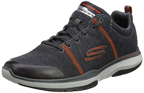 Skechers Burst TR- Locust, Scarpe Running Uomo, Grigio (Charcoal/Orange), 45 EU