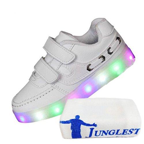 (Present:kleines Handtuch)JUNGLEST 7 Farben LED Kinder, Jungen, Mädchen führte leuchten Trainer Sneakers Turnschuhe Sportschu White