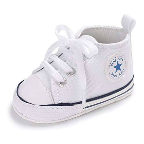 Nette Baby-Segeltuch-Turnschuh-Rutschfeste Weiche Trainer-Schuhe 0-18M (S: 0-6 Monate, Milky)
