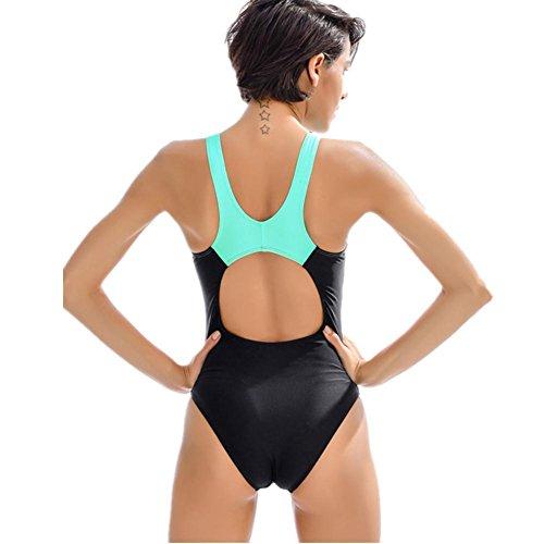 SHISHANG Neue Damen Badeanzug Mode Kampf Farbe professionelle Fitness Ausbildung verbunden Badeanzug hohe Elastizität Black