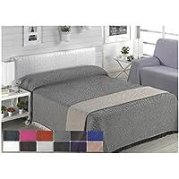 Colcha multiusos / Cubre sofás / Sobrecamas y colchas / Manta color liso para sofá 3 plazas o cama 135-150cm (220 x 260 cm, ANTRACITA)