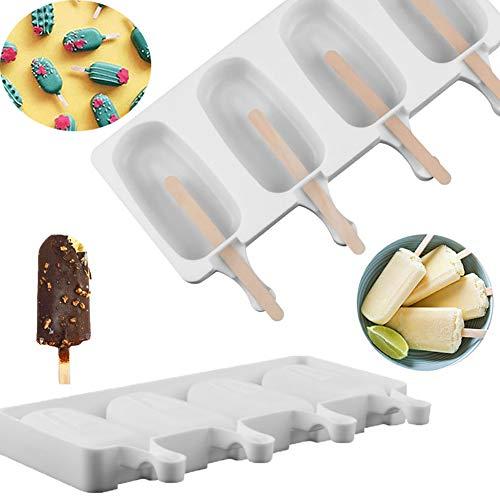 GOGOCC Eisform Silikon-EIS-Pop-Schimmel Popsicle Formen DIY Eismaschine mit 10 Stücke Wooen Sticks Klassisches Oval EIS(Klein 21.5 * 13 * 2.5CM)