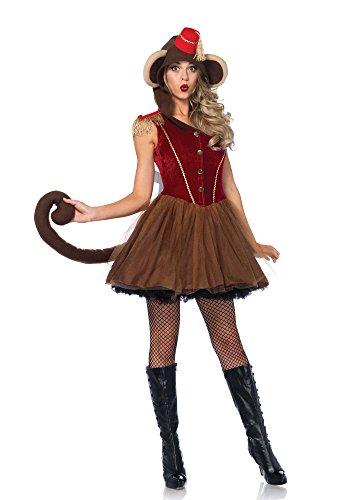 Kostüme Avenue Leg Kapuzen (Leg Avenue 86640 Wind-Up Affe, Damen Karneval Kostüm Fasching, S,)