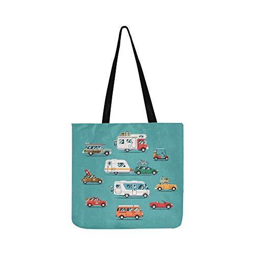 Große weiße und rote Campers Canvas Tote Handtasche Schultertasche Crossbody Taschen Geldbörsen für Männer und Frauen Einkaufstasche