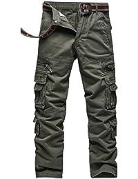 4b9d0ffe1a Anyu Hombre Pantalones Cargo Multi-Bolsillo del Pantalón Recto Pantalones  Militares
