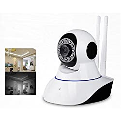 Maxxlite Wireless Dual Antenna HD IP Wifi Camera CCTV indoor Security CCTV Camera Video Monitor with 2 Way Audio Chat & Motion Detection (Support Micro SD card & Inbuilt Mic)