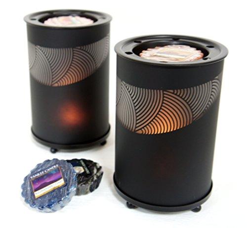 2x Offizielle Yankee Candle Schwarz Sandblast Wax Melt Wärmer Brenner inkl. 4x Verschiedene Tarts (Wärmer Duftlampe)