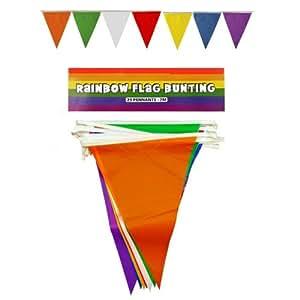 6X Rainbow fanions triangulaire fanions 25drapeaux 7m PVC