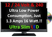 "20"" Ultra Slim LED Digital Freeview USB Record TV DVD. Caravan HGV Boat. 12 / 24 VOLT DC 12V + 240"