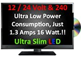 "20"" Ultra Slim LED Digital Freeview USB Record TV DVD. Caravan HGV Boat"