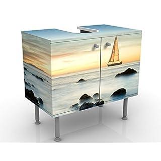 Design Vanity Sailors At The Ocean 60x55x35cm, small, 60cm wide, adjustable, wash basin, vanity unit, washstand, bathroom cupboard, base unit, bathroom, narrow, flat