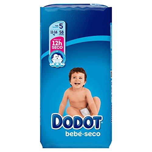 Dodot Bebé-Seco Pañales Talla 5, con Canales de Aire, 11 - 16 kg, 58 Pañales