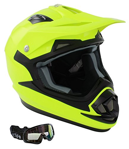 Adulti caschi moto gsb xp-14b mx casco motocross off road quad atv enduro casco sportivo acu, ece color - giallo flou + x1 occhiali, xl