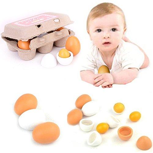 Kicode Huevo Modelo de Imitación de Madera de Madera No adecuado para menores de 3 años Niños Juguetón No adecuado para